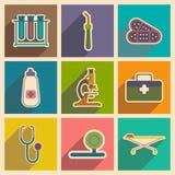 Iconos de instrumentos médicos y del medicamento adentro Imagenes de archivo