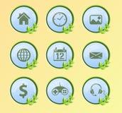 Iconos de Internet fijados, verdes y naturaleza Imágenes de archivo libres de regalías