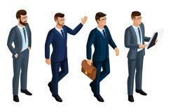 Iconos de Isometry de las emociones de los hombres, hombres de negocios 3d, CEO, abogado Expresión de la cara, peinado Isometry c libre illustration