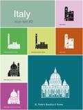Iconos de Italia Fotografía de archivo libre de regalías