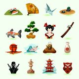 Iconos de Japón fijados Foto de archivo libre de regalías