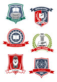 Iconos de la academia, de la universidad y de la universidad stock de ilustración
