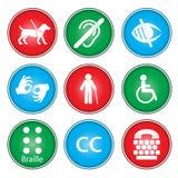 Iconos de la accesibilidad Fotografía de archivo