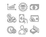 Iconos de la actividad bancaria, de las finanzas y de la carta Sorprenda el regalo, el intercambio de moneda y los Usd de muestra libre illustration