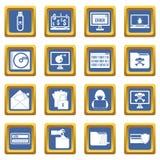 Iconos de la actividad criminal fijados azules ilustración del vector