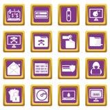 Iconos de la actividad criminal fijados púrpuras stock de ilustración