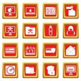 Iconos de la actividad criminal fijados rojos stock de ilustración