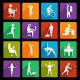 Iconos de la actividad física planos Foto de archivo libre de regalías