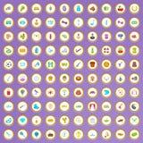 100 iconos de la afición fijados en estilo de la historieta Imagen de archivo libre de regalías
