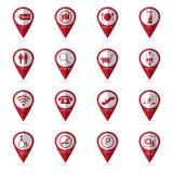 Iconos de la alameda de compras con el icono de la ubicación Foto de archivo
