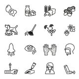 Iconos de la alergia fijados ilustración del vector