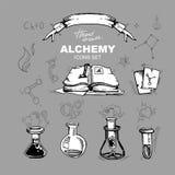 Iconos de la alquimia fijados Fotos de archivo libres de regalías