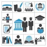 Iconos de la alta educación Imágenes de archivo libres de regalías