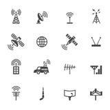 Iconos de la antena y del satélite ilustración del vector