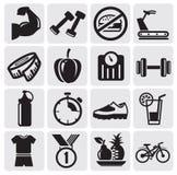Iconos de la aptitud Imagenes de archivo