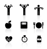 Iconos de la aptitud Imagen de archivo libre de regalías