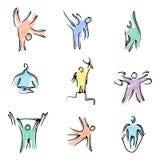 Iconos de la aptitud del color Fotos de archivo libres de regalías