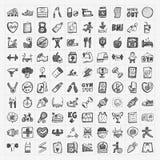 Iconos de la aptitud del garabato Fotografía de archivo libre de regalías