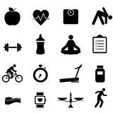 Iconos de la aptitud y de la dieta Foto de archivo libre de regalías