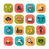 Iconos de la aptitud y de la salud Foto de archivo libre de regalías