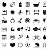 Iconos de la aptitud y de la salud Imágenes de archivo libres de regalías
