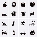 Iconos de la aptitud y del deporte Foto de archivo libre de regalías