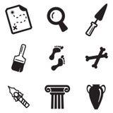 Iconos de la arqueología Foto de archivo libre de regalías