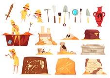 Iconos de la arqueología fijados stock de ilustración