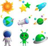 Iconos de la astronomía stock de ilustración