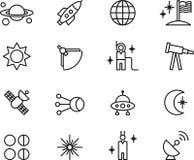 Iconos de la astronomía, de la astrología y del espacio Fotografía de archivo