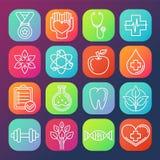 Iconos de la atención sanitaria y de la aptitud del vector Foto de archivo libre de regalías