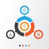 Iconos de la autoridad fijados Colección de blanco aprobada, demostración del informe, Team Meeting And Other Elements También in ilustración del vector