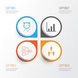 Iconos de la autoridad fijados Colección de organización del grupo, de estructura de sistema, de recordatorio y de otros elemento stock de ilustración