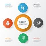 Iconos de la autoridad fijados Colección de Team Meeting, toma de decisión stock de ilustración