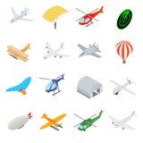 Iconos de la aviación fijados ilustración del vector