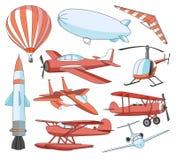 Iconos de la aviación fijados Foto de archivo libre de regalías
