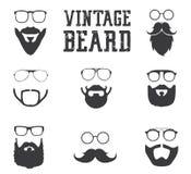 Iconos de la barba del vintage imágenes de archivo libres de regalías