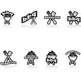 Iconos de la barbacoa stock de ilustración