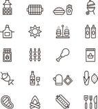 Iconos de la barbacoa y de la comida campestre Foto de archivo libre de regalías