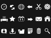 Iconos de la barra de herramientas del web en fondo negro Fotos de archivo libres de regalías