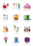 Iconos de la barra y del restaurante de Café Fotos de archivo