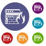 Iconos de la base de datos y del cortafuego fijados Imágenes de archivo libres de regalías