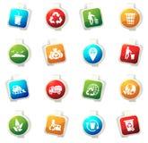 Iconos de la basura fijados Imagen de archivo libre de regalías