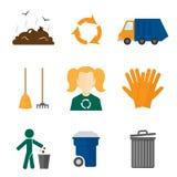 Iconos de la basura planos ilustración del vector