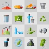 Iconos de la basura planos Imagen de archivo libre de regalías