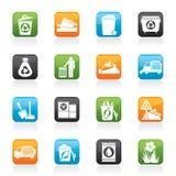 Iconos de la basura y de los desperdicios ilustración del vector