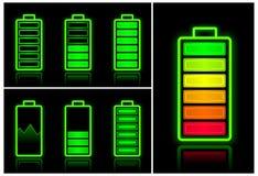 Iconos de la batería Fotos de archivo