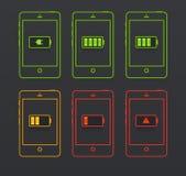 Iconos de la batería Imágenes de archivo libres de regalías