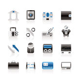 Iconos de la batería, del asunto y de las finanzas