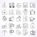 Iconos de la batería, del asunto y de las finanzas Fotografía de archivo libre de regalías